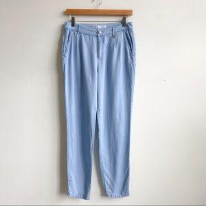 Zara Chambray High Waist Crop Pant